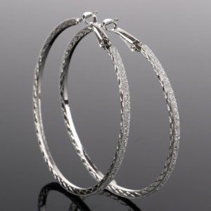 Silver Sparkle Hoop Earrings (last pair)